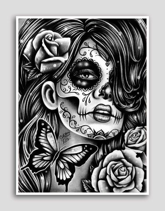 Tattoo Wall Art day of the dead poster sugar skull girl butterfly tattoo art wall