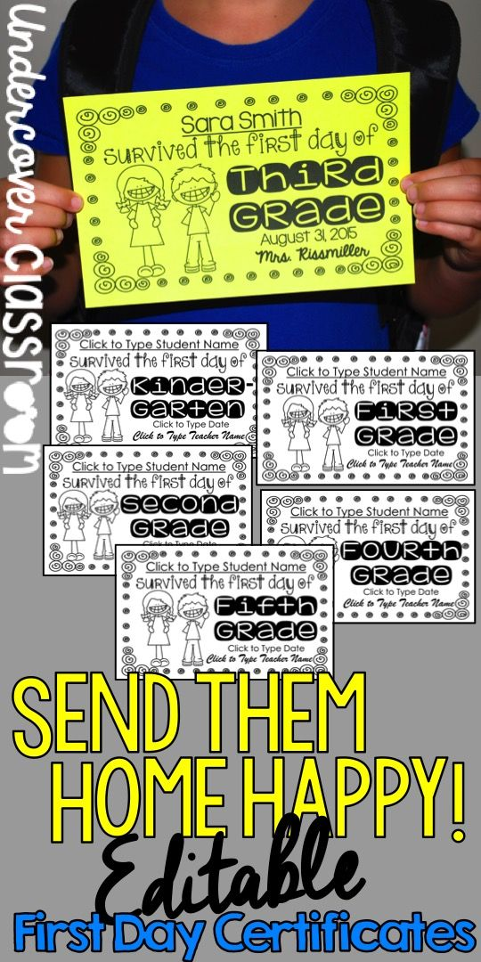 First Day Certificates for Grades K-5: Editable | Certificate ...