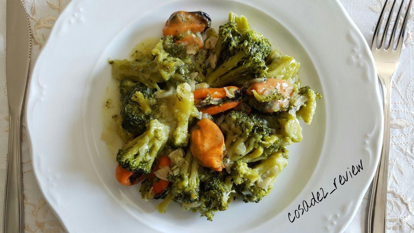 receta de cocina Arbolitos con moluscos Brócoli Mejillones