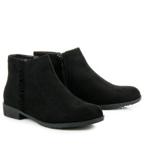 Semišové členkové topánky s volánikmi 99-387B 1e67570721b