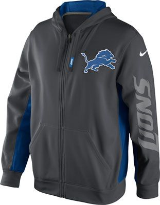 Detroit Lions Anthracite Nike Sideline KO Full-Zip Hooded Sweatshirt  lions   nfl  detroit 9ed68d314
