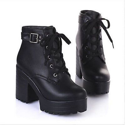 Womens Chunky Platform High Heel Ankle Boots Buckle Shoes Size