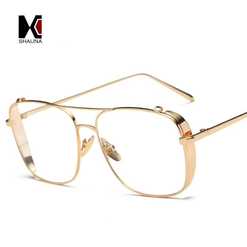 82b6c75644 SHAUNA Retro 3 Colors Women Punk Plain Glasses Frame Brand Designer Fashion  Men Square Metal Frame Clear Lens Eyeglasses  instalike  love  cool   stylish ...