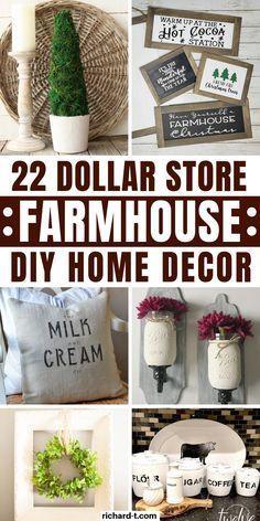 22 Genius Dollar Store farmhouse DIY home decor ideas that everyone should try! These farmhouse home decor ideas are so beautiful and cheap!! #farmhouse #homedecor #DIY #dollarstore