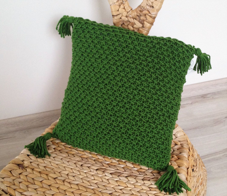 Decorative hand knit pillowcase green colour home decor pillow