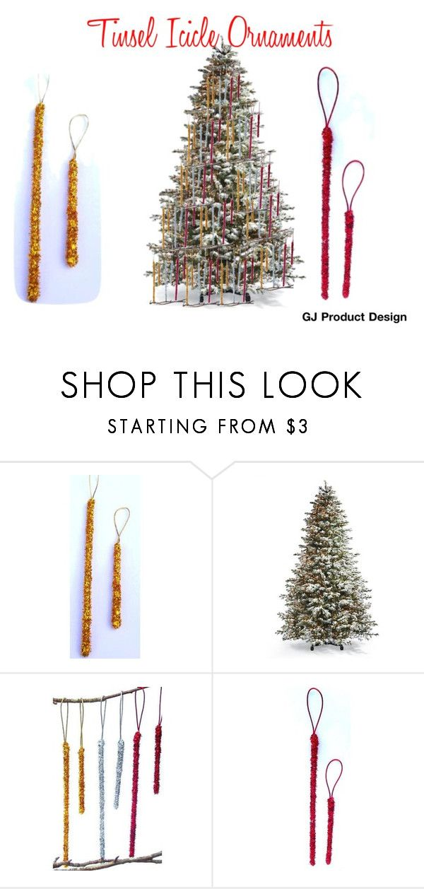 """""""Icicle Ornaments"""" by garadina on Polyvore featuring interior, interiors, interior design, home, home decor, interior decorating, Frontgate, Christmas and christmastree"""