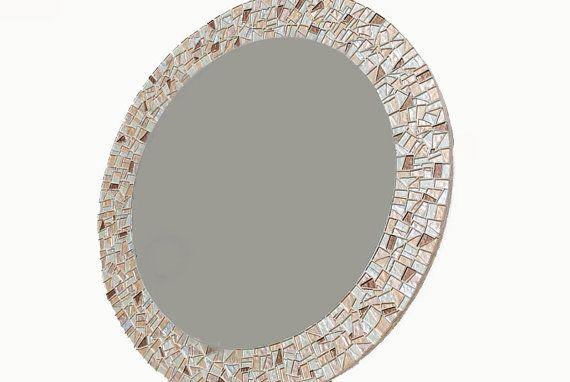 Round Mosaic Mirror Metallic Silver Gold By