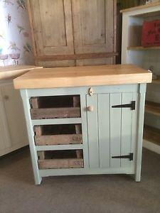 Rustic Wooden Solid Pine Freestanding Kitchen Island Handmade ...