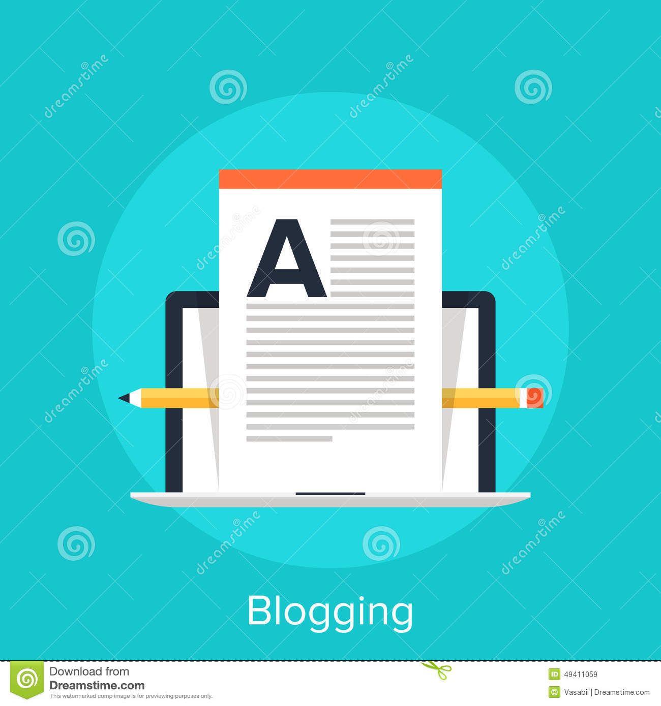 Vector illustration of blogging flat design concept. - Visit WebtalkMedia.com for info on blogging!