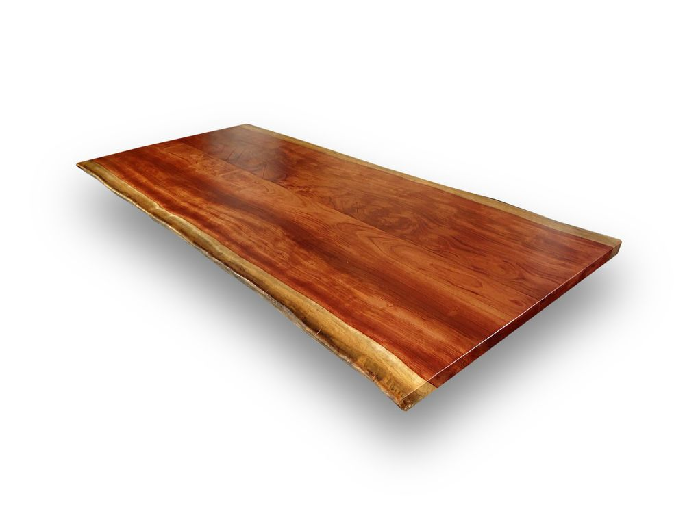 Schreibtischplatte massivholz  Bubinga Rosenholz-Massivholz Tischplatte, Baumkanten, Ess ...