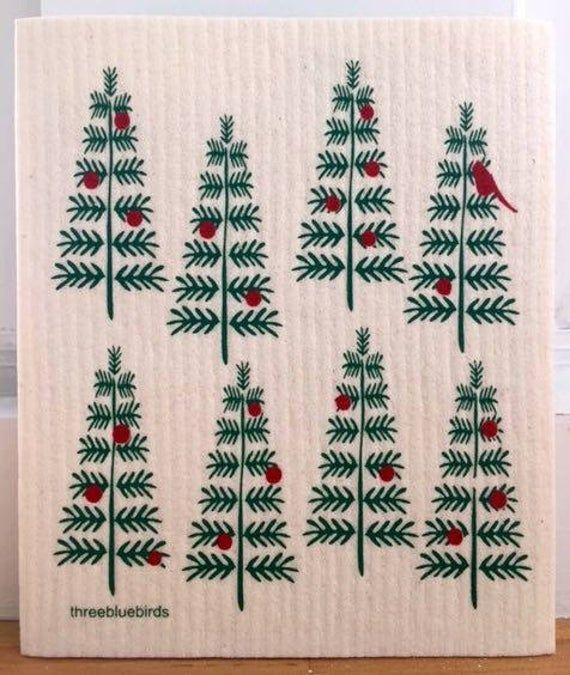 Christmas Trees Swedish Dishcloth By Three Bluebirds Etsy In 2020 Swedish Weaving Bead Loom Patterns Blue Bird