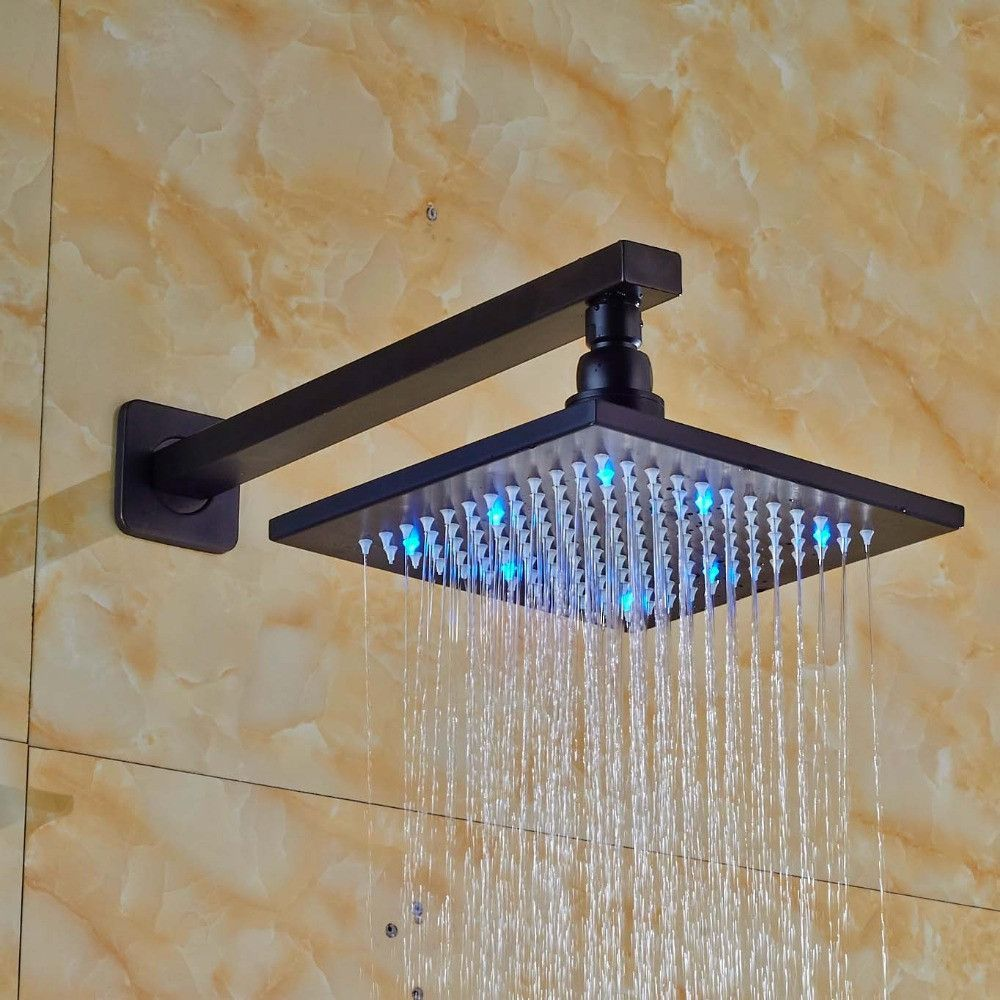 8 Inch Rainfall Overhead Shower Head with LED Light Oil Rubbed Bronze with Shower Arm-  Type: Fixed Rotatable Type  Shower Head Feature: Rainfall Shower Heads  Surface Finishing: Chrome  Material: Brass  Shower shape: Round  Installation Type: Wall Mounted  Style: Single Head  Shape: Square  Model Number: SH9620  is_customized: Yes -   Related: 8 #Inch #Rainfall #Overhead #Shower #Head #with #LED #Light #Oil #Rubbed #Bronze #with #Shower #Arm