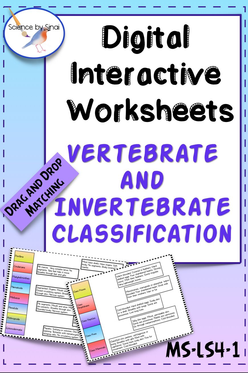Digital Interactive Classification Animals Worksheets Activity Ms Ls4 1 High School Science Activities Science Lessons Elementary Resources