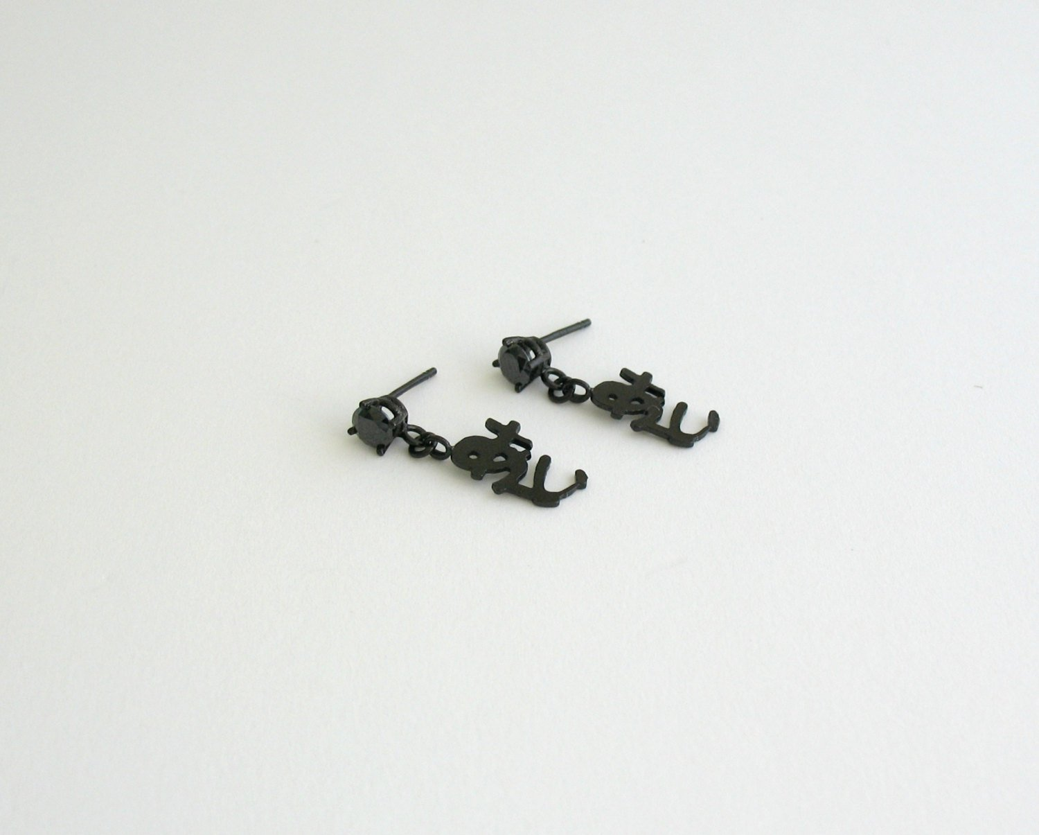 Japanese love word black earrings black dangle earring