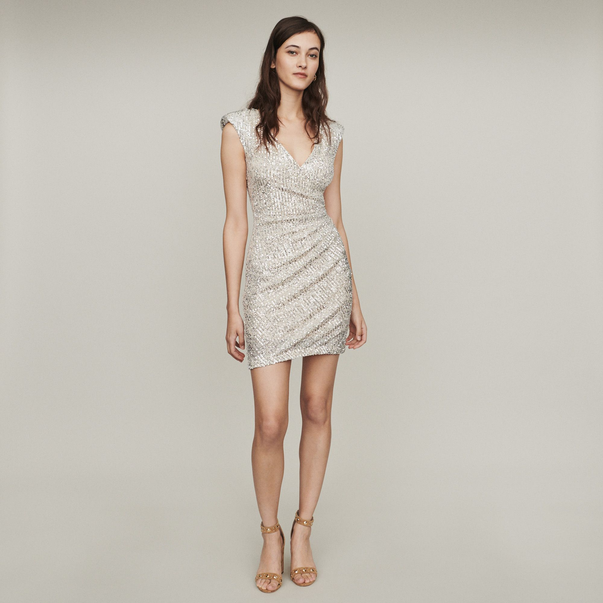 RIVIERA Sleeveless drape dress with sequins Dresses Maje