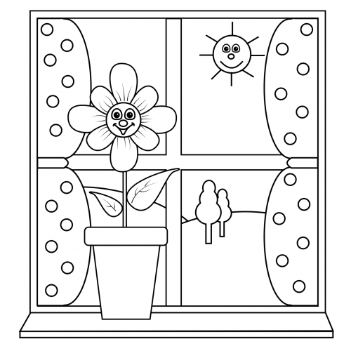 Coloring Page Sunny Window