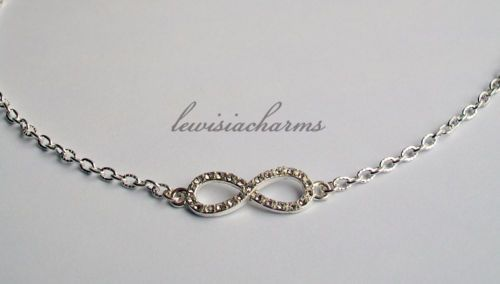 NECKLACE 'Rhinestone Infinity' Endless Love. NEW