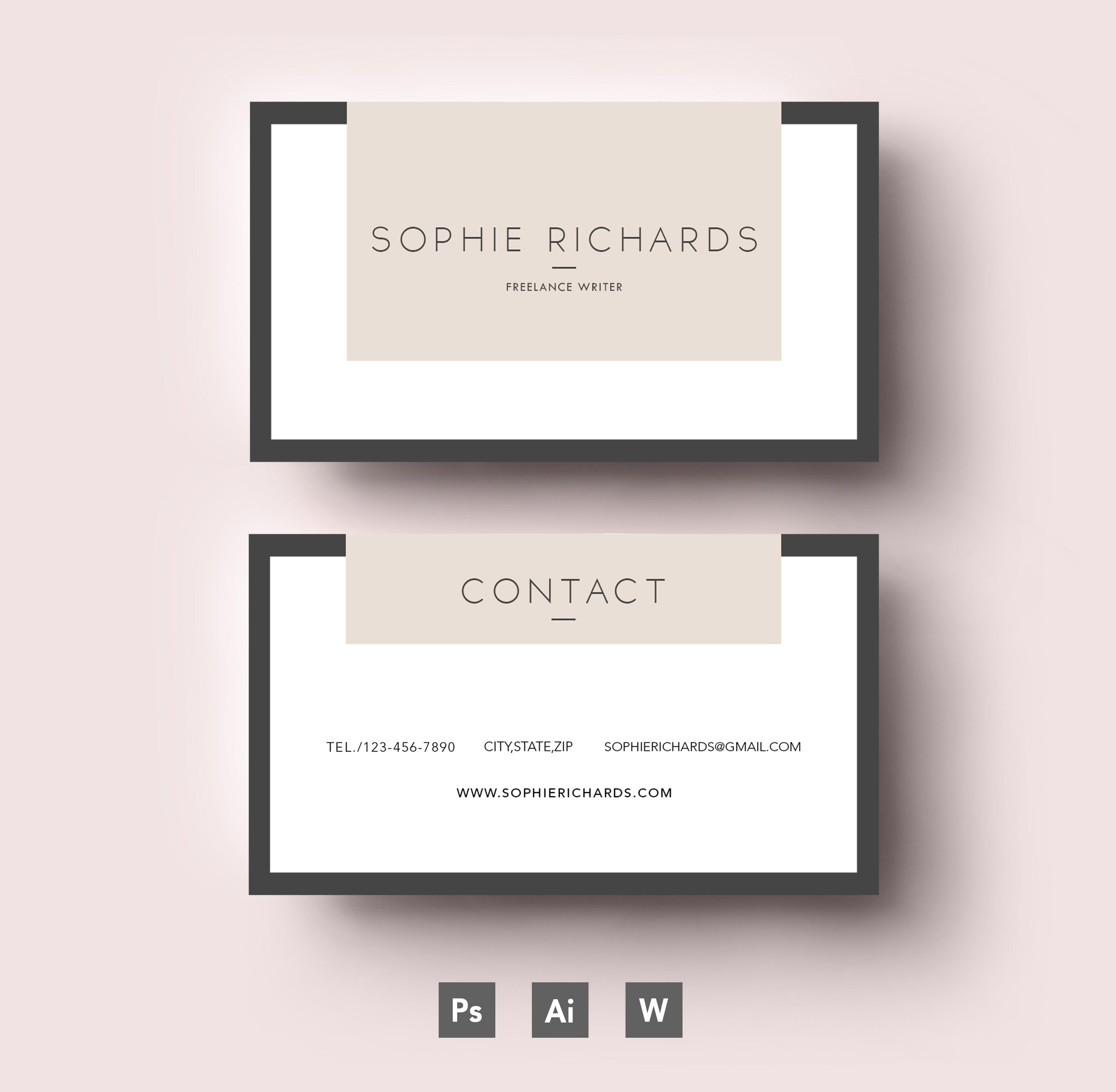 Modern Two Side Business Card Template Shablony Vizitok Shablon