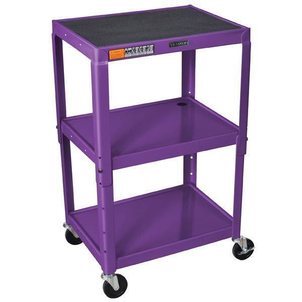 Office Star 18 in x 24 25 in 3 Purple Metal Cart