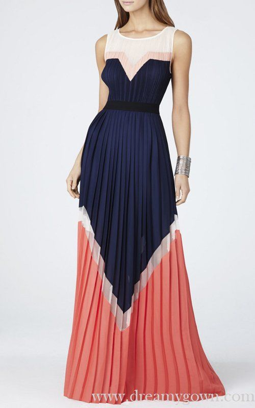 Bcbg Kathrine Pleated Color Blocked Long Dress Navy