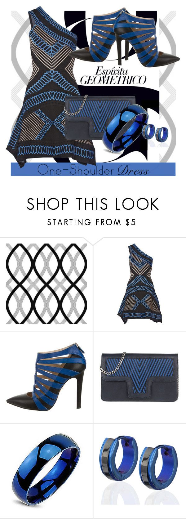 """Party Style: One-Shoulder Dress – Contest Entry"" by geewhizart ❤ liked on Polyvore featuring Beacon, GINTA, Hervé Léger, Ruthie Davis, Lili Radu, West Coast Jewelry and dress"