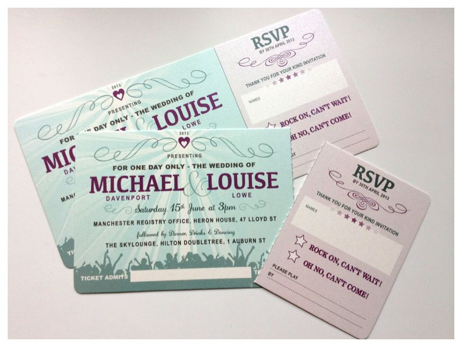 Festival ticket style wedding invites with tear off RSVP stub Jill