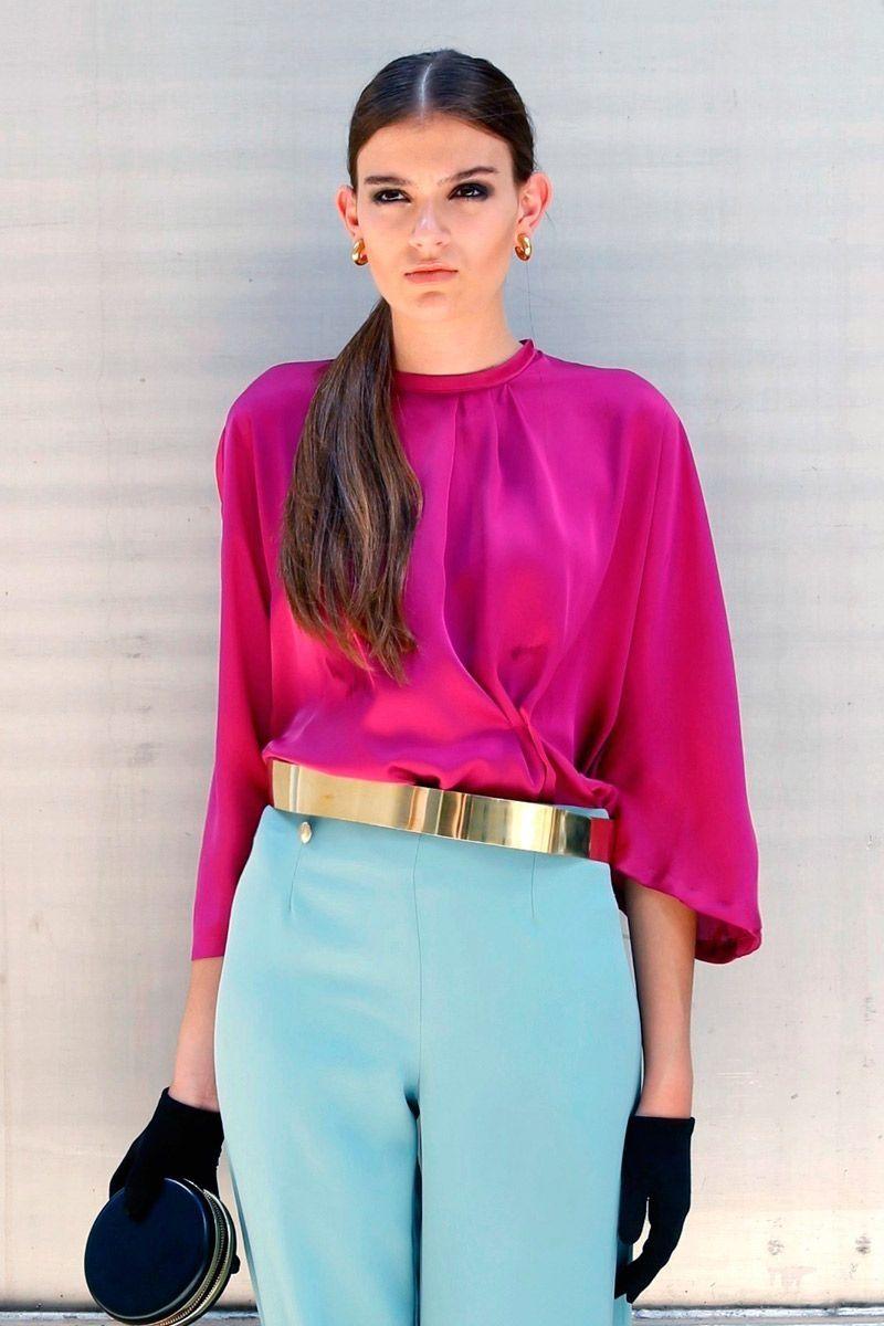 brillo de color color atractivo zapatos casuales Blusa Chloe Buganvilla | pantalones y monos | Blusa fucsia ...