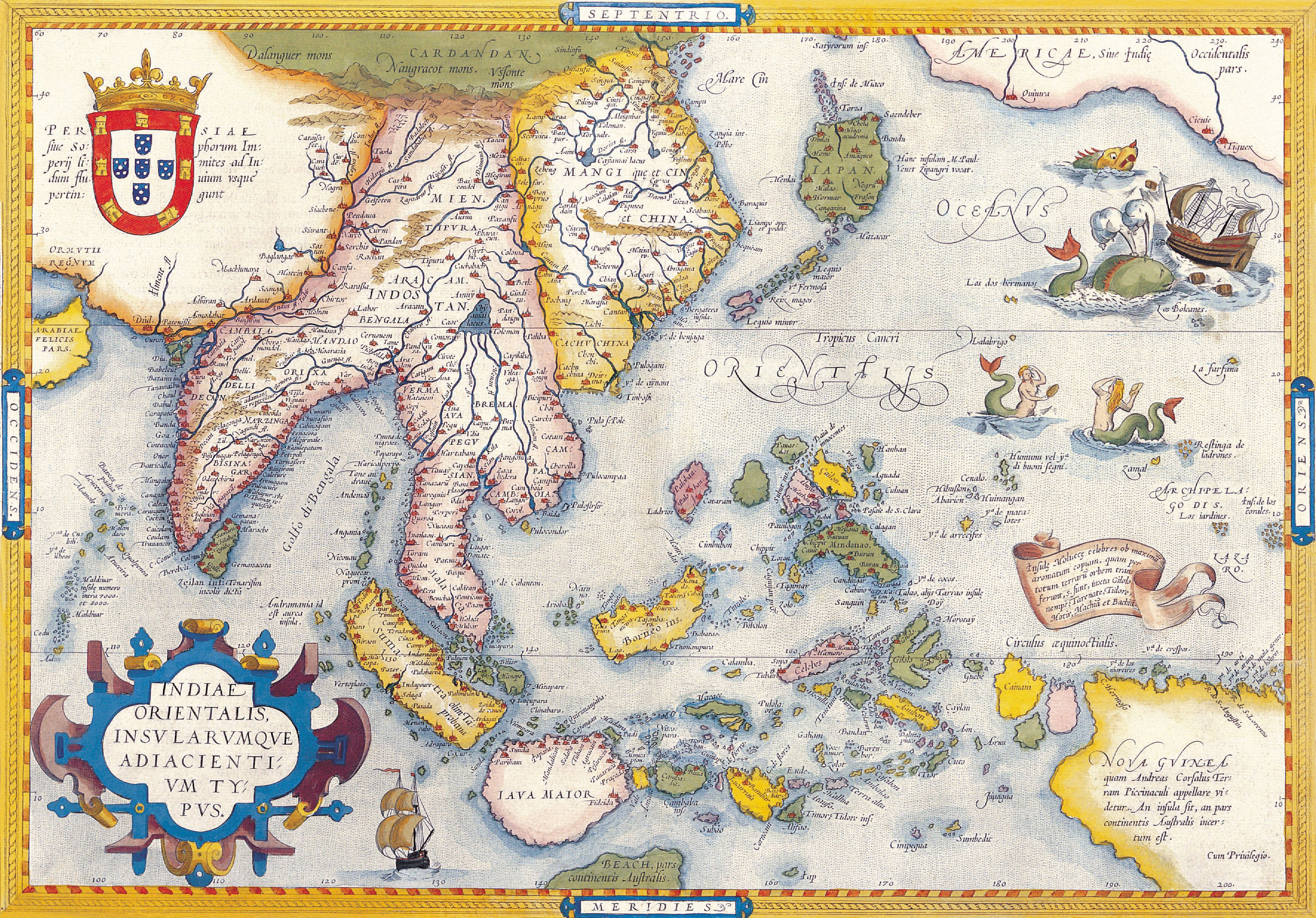 Mercator Map Of India Orientalis Amsterdam Portugal - Portugal india map
