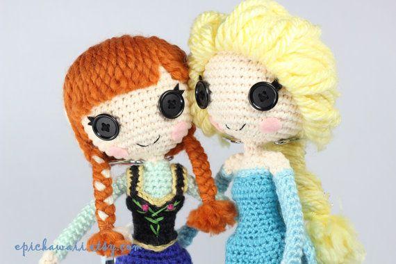 Amigurumi Doll Lalaloopsy Pattern : Pattern pack anna and elsa frozen crochet amigurumi dolls