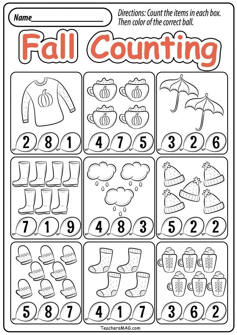 Fall Preschool Math Worksheets Teachersmag Com Preschool Fall Math Kindergarten Math Worksheets Free Kindergarten Math Worksheets Fall math worksheets kindergarten