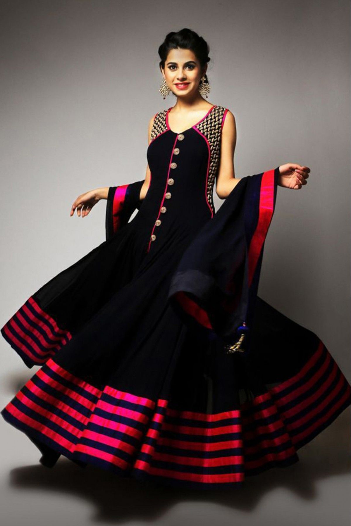Georgette Anarkali Party Wear Suit in Black Colour | Indian ...