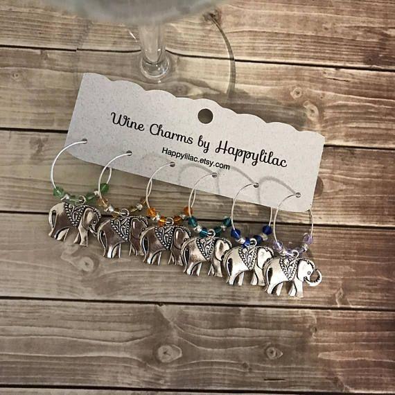 Elephant Wine Charm Six Charms Silver Glass