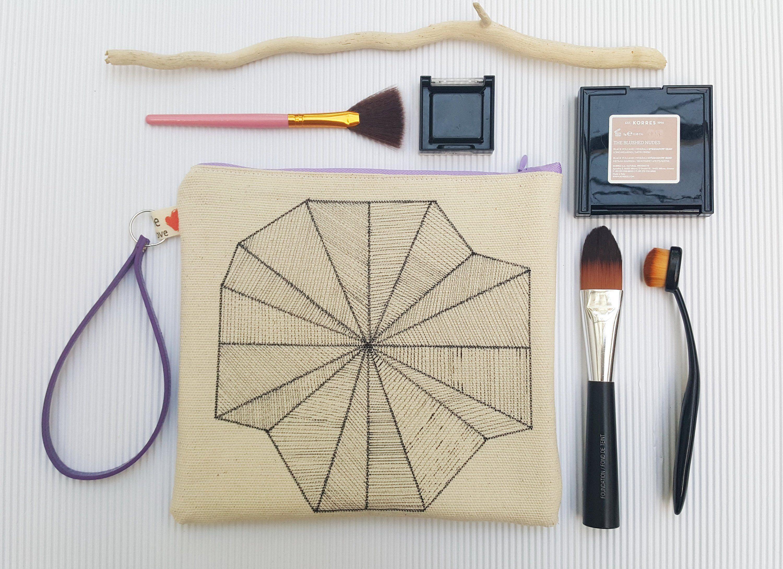 01c49387347 Geometric print zipper pouch, Canvas wristlet, Small purse for her, Hand  drawn cosmetic bag, Make up pouch, Canvas zipper clutch, Purple bag