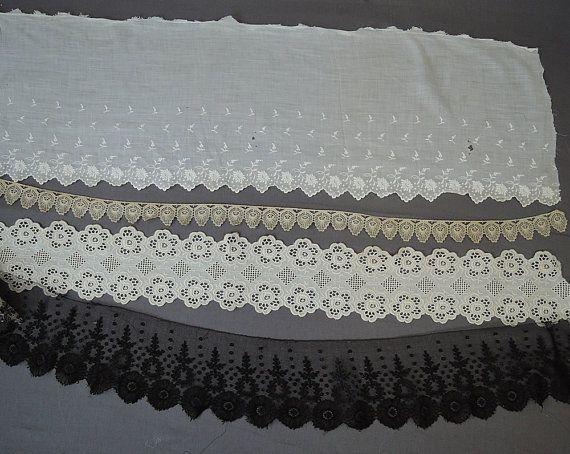 4 Antique Lace Trims Cotton Eyelet Crochet & by dandelionvintage