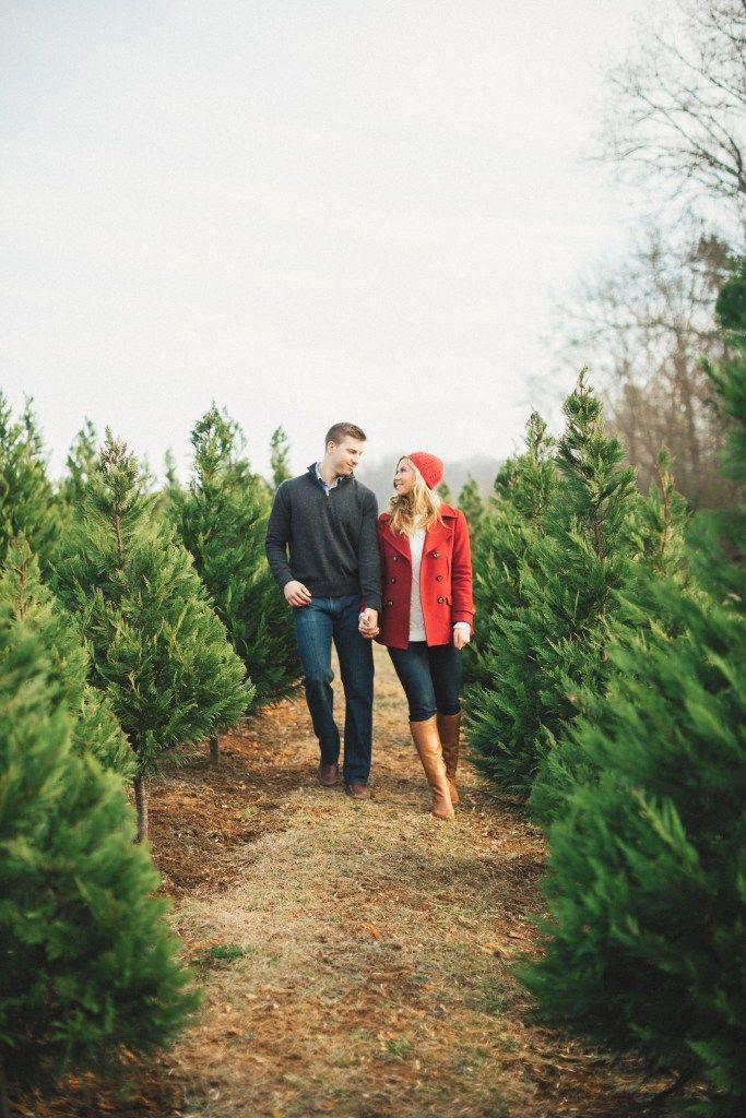 Christmas Romance Worthy Of A Hallmark Movie Tartan Tinsel Christmas Tree Farm Photos Christmas Couple Pictures Christmas Tree Farm Photo Shoot