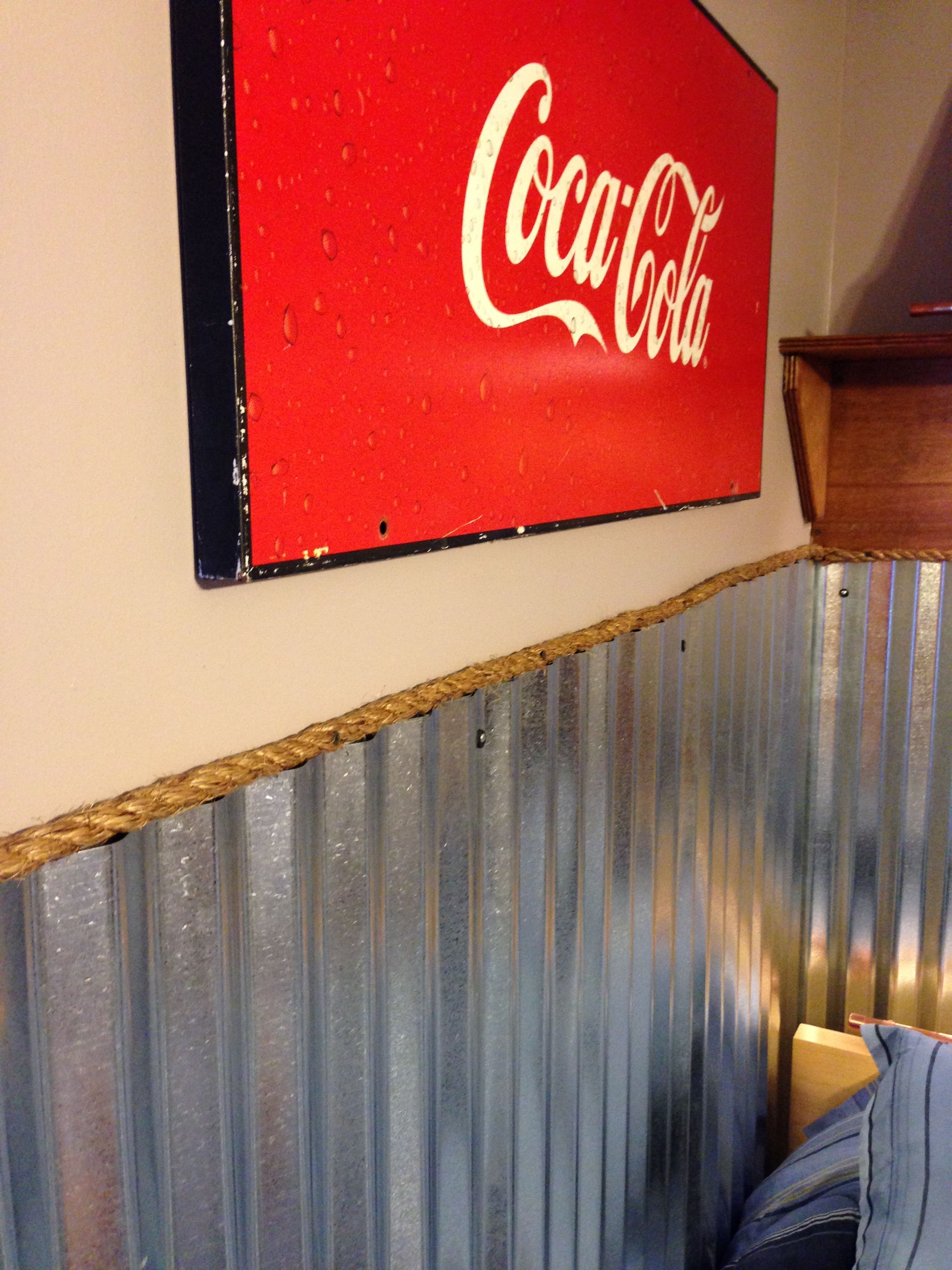 Teen Boys Room Industrial Coke Corrugated Metal Wainscoting Rope Border