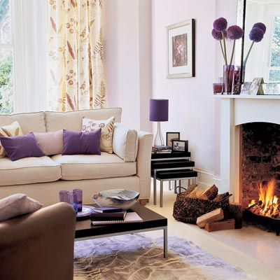 Living Room Ideas A Soft Barely Perceptible Hue Of Purple Coats The Walls This Space