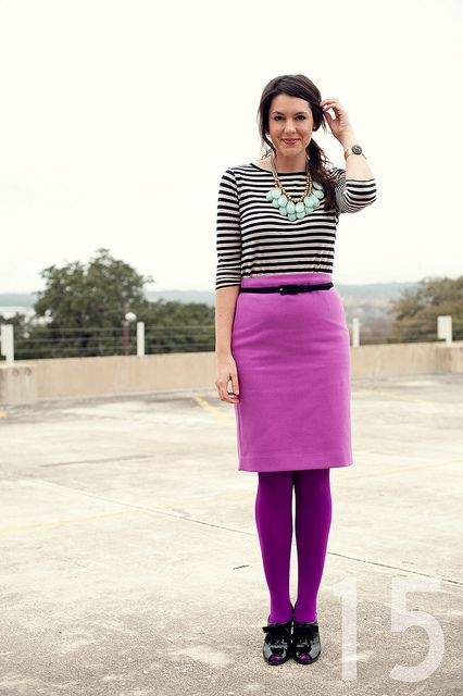 Black And White Striped Shirt Purple Skirt And Tights