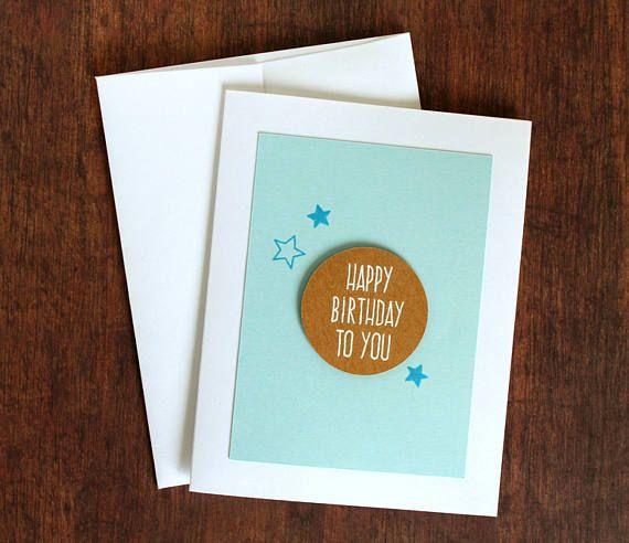 Handmade Hand Stamped Birthday Card Masculine Birthday Card