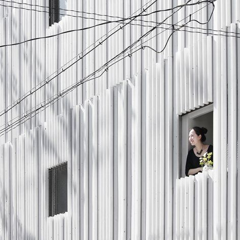 a 39 year old building in the suburb of osaka has been renovated by