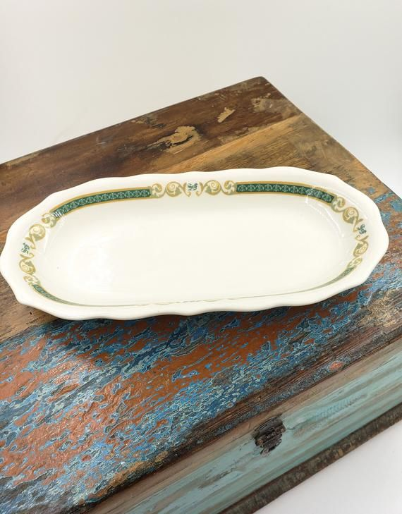 Syracuse China asparagus dish, restaurant ware, serving dish, tray, white green and yellow #dishware