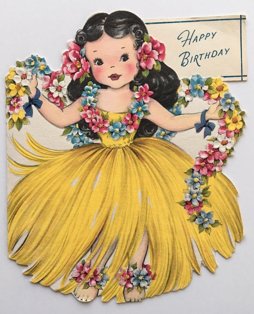 Vintage die cut paper doll card pretty girl dress hula skirt hawaii vintage die cut paper doll card pretty girl dress hula skirt hawaii flower pink vintage birthday cardsvintage greeting kristyandbryce Gallery