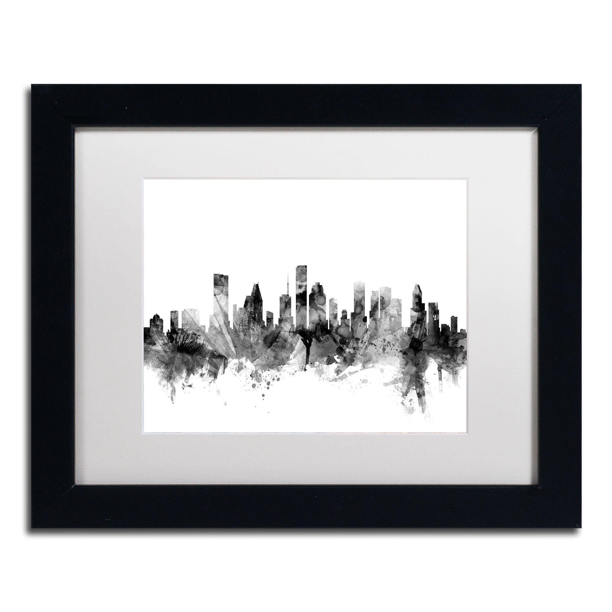Michael Tompsett 'Houston Texas Skyline B&w' Matted Framed Art