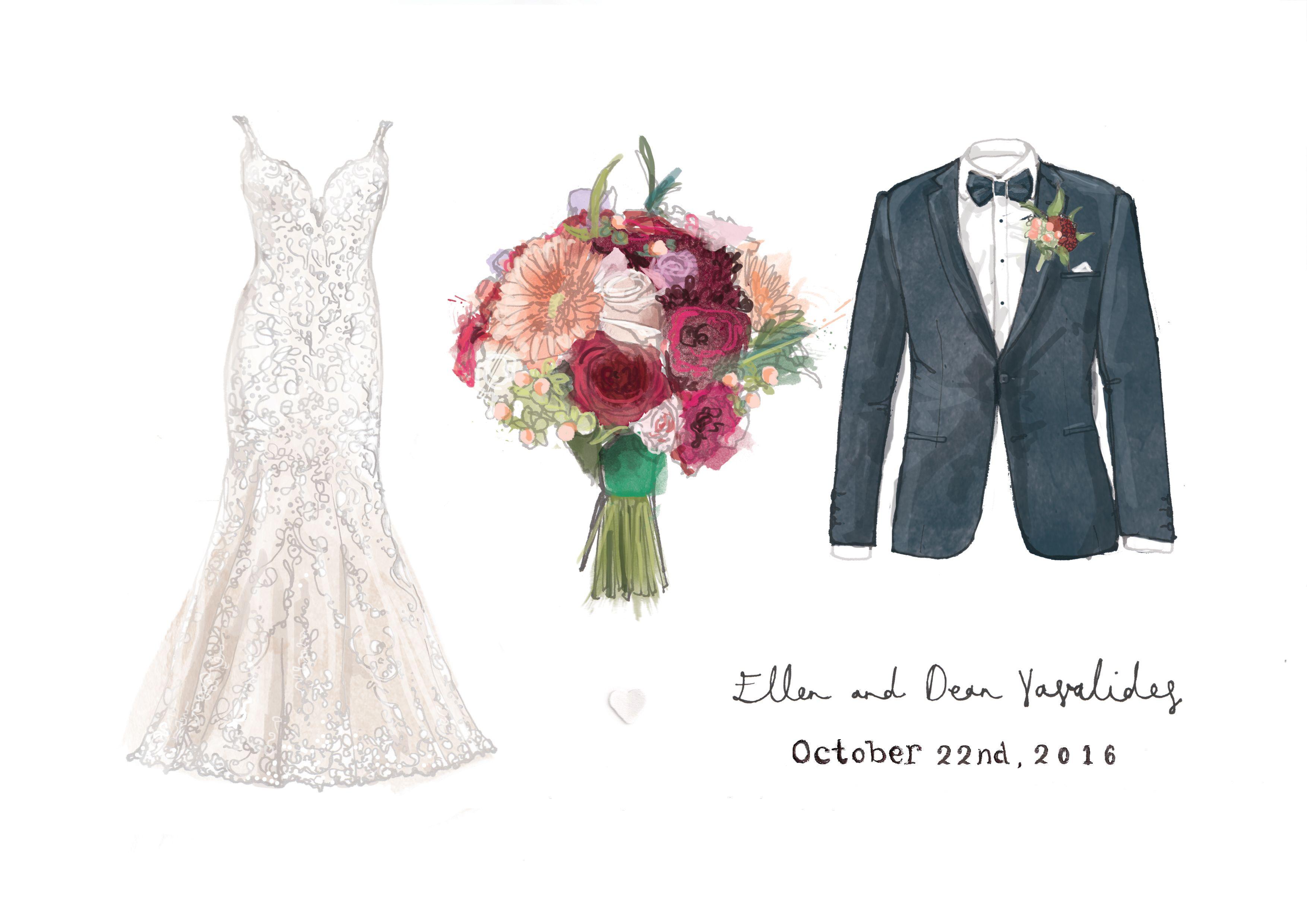 1st Anniversary Bride Bouquet And Groom Print Wedding Dress