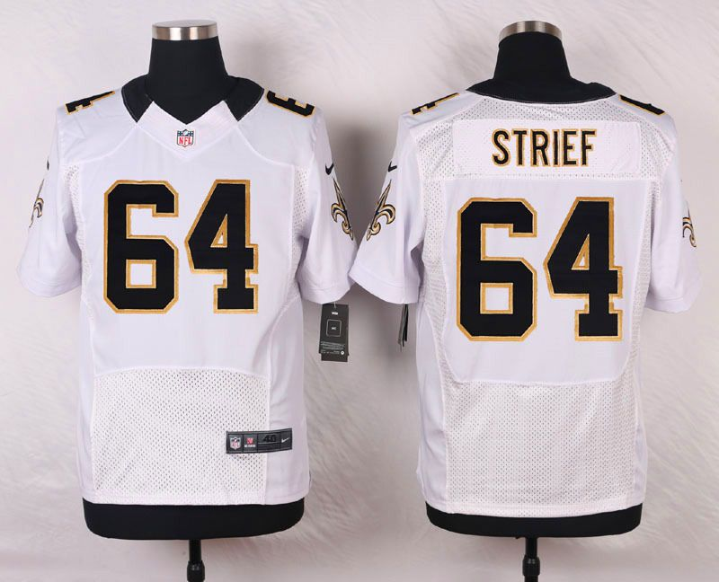 New Orleans Saints #64 Zach Strief White Road NFL Nike Elite