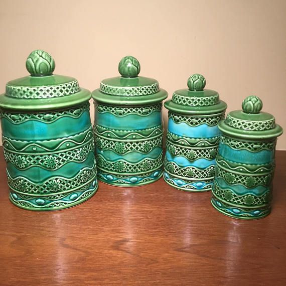 Rare Vintage Lincoln Beautyware Ceramic Kitchen Canister Set ...