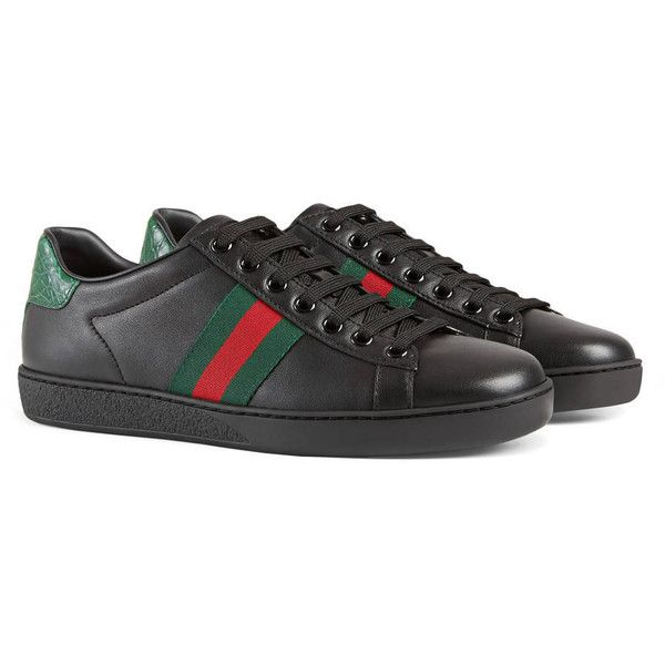 016d6e1b Gucci Ace Leather Low-Top Sneaker ($540) ❤ liked on Polyvore ...