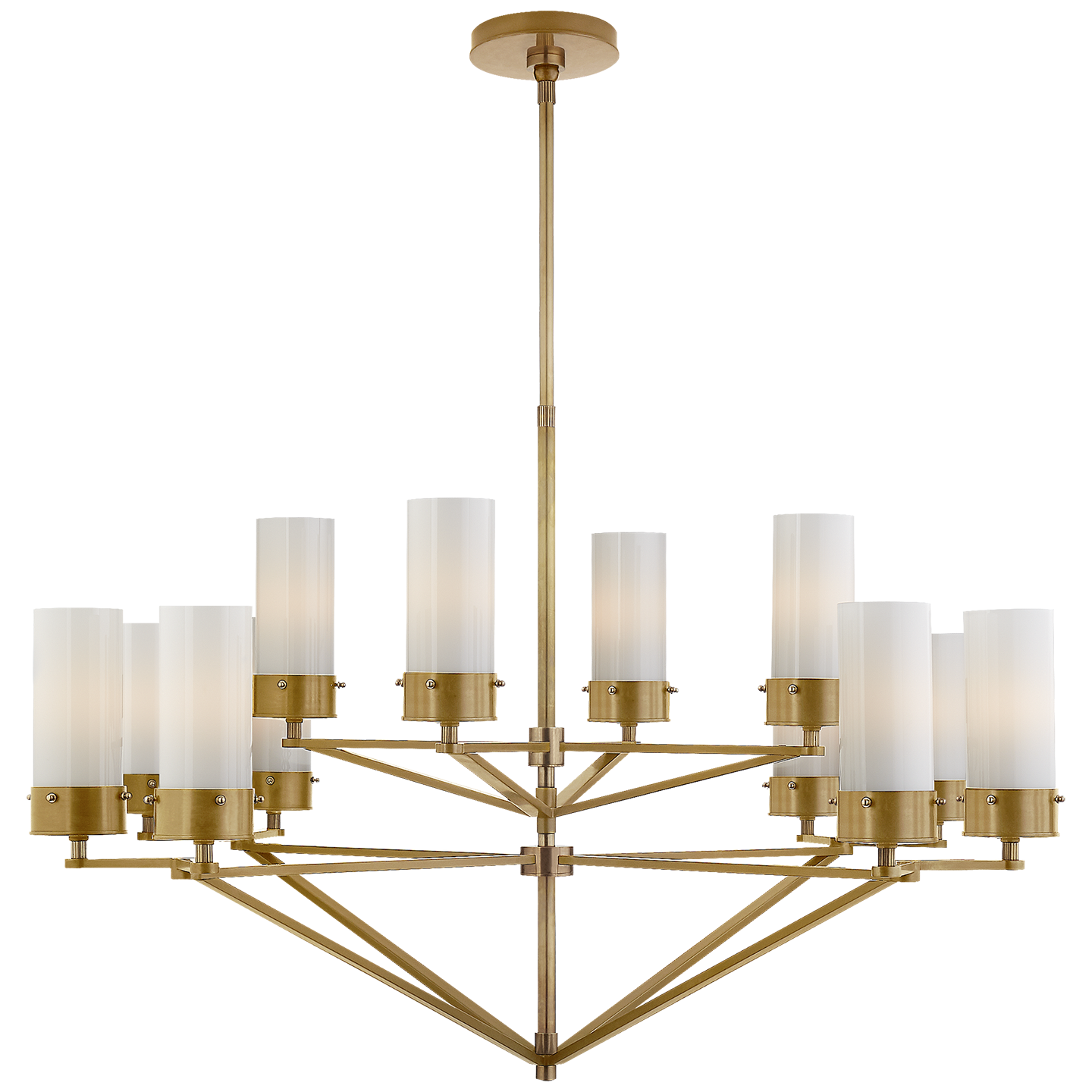 Marais Large Chandelier In Bronze And Hand Rubbed Antique Brass With