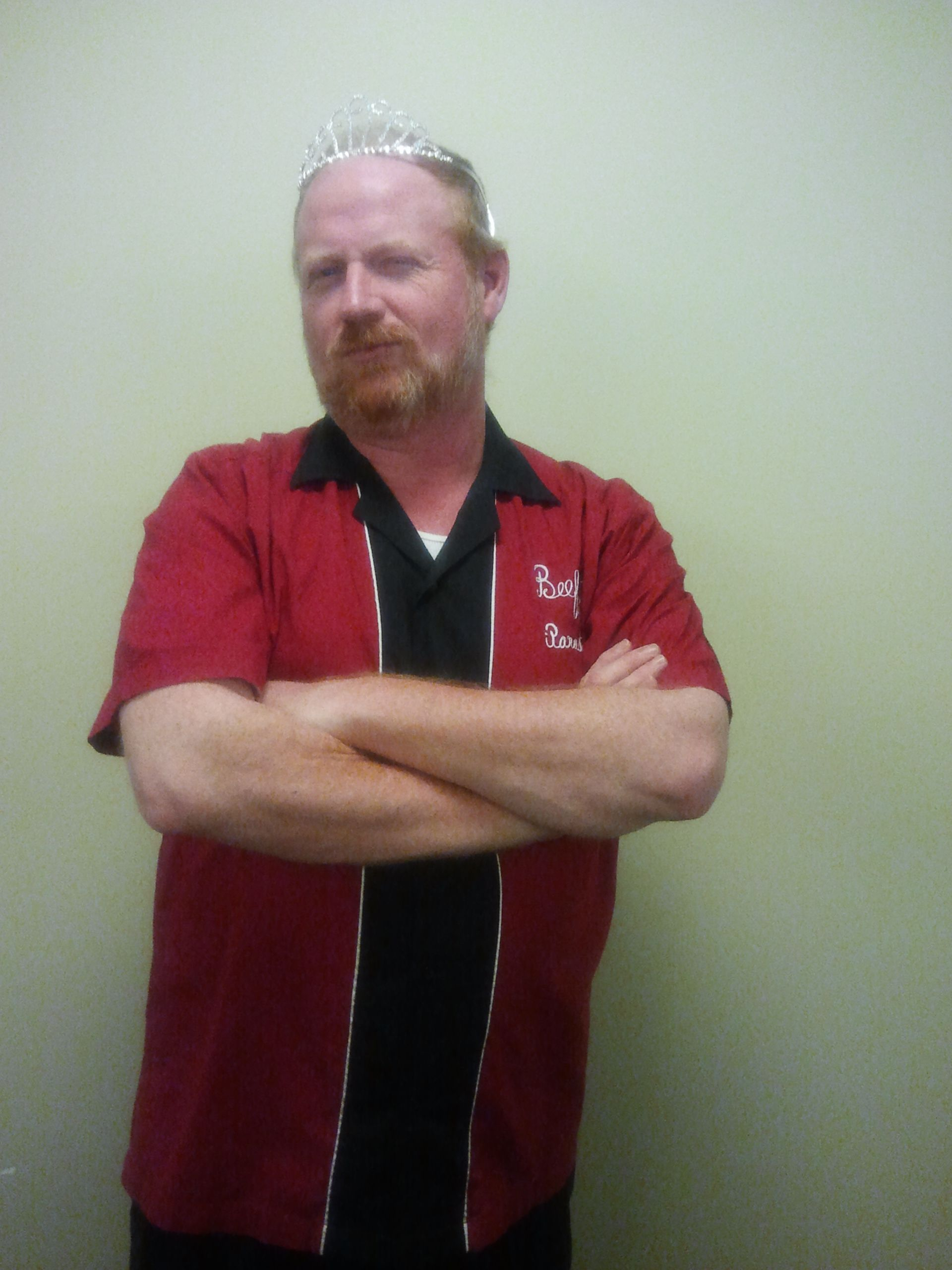 You can call him Todd, or you can call him Beefy!  His winning iParadigms bowling shirt says so!  Really nice tiara, Beefy!