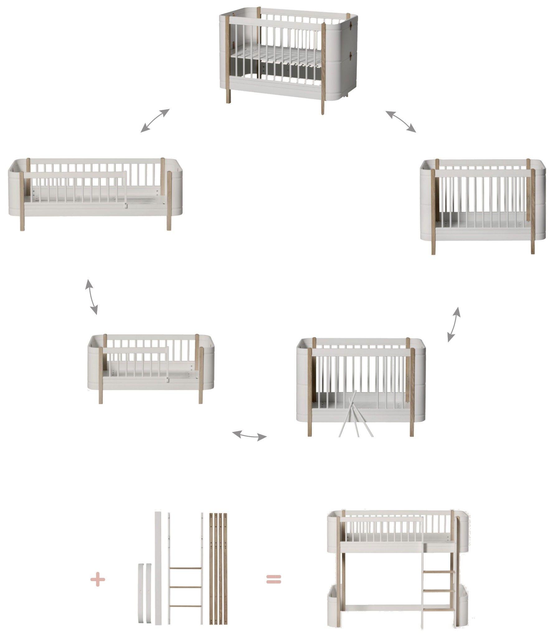 Oliver Furniture Wood Mini Halbhohes Hochbett Weiss Eiche
